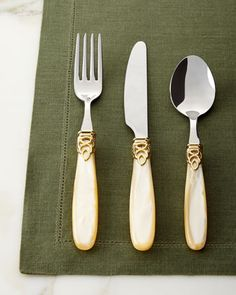 20-Piece Gioiello Gold Flatware Service at Horchow.