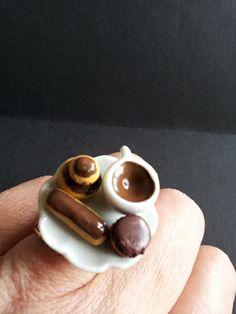 bague café gourmand religieuse, eclair,  fimo de Jewelry fimo sur DaWanda.com