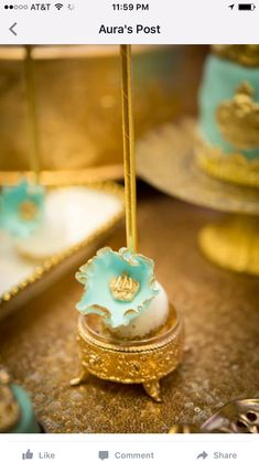 Gold and blue Royal baby shower | CatchMyParty.com