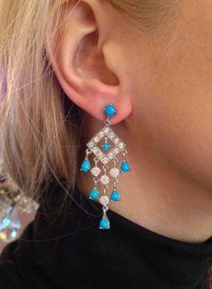 Estate-Diamond-and-Turquoise-Dangle-Drop-Earrings-18K-White-Gold-HM1207