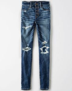 Shop American Eagle for Women's Jeans that look as good as they feel. Find high-waisted, skinny, curvy, cropped & jegging fits in new washes and stretch levels today! Pantalones American Eagle, American Eagle Jeggings, American Eagle Outfitters Jeans, Heels Outfits, Jean Outfits, Cute Ripped Jeans, Clothes 2019, Mens Outfitters, High Waist Jeans