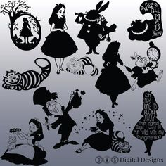 12 Alice In Wonderland Silhouette Bilder von OMGDIGITALDESIGNS Silhouette Images, Silhouette Portrait, Black Silhouette, Disney Crafts, Disney Diy, Alice In Wonderland Silhouette, Tattoo Alice In Wonderland, Diy Tattoo, Were All Mad Here