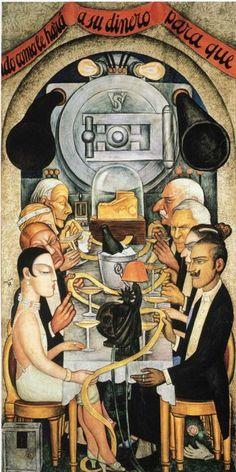 Banquete en Wall Street - Diego Rivera. Pared norte, Patio de Las Fiestas, Secretaría de Educación Pública, Ciudad de México. 1928.