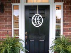 Metal Monogram Front Door Wreath And Hook,Metal Monogram Door Hanger,  Monogrammed Metal Wreath