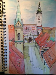My painting during fighting against chickenpox. Croatia Pictures, Building Illustration, Watercolor Illustration, Sketching, Taj Mahal, Architecture, Travel, Painting, Inspiration