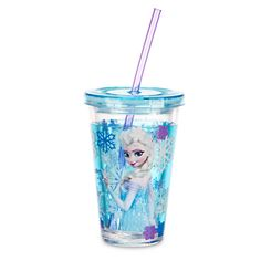 Disney Elsa Tumbler with Straw - Frozen - Small | Disney StoreElsa Tumbler with Straw - Frozen - Small - Put the freeze on spills with Elsa's icy tumbler. The lid twists tight for on-the-go sipping on every adventure. This refreshing cup has a dual-layer design and is made from heavy-duty reusable acrylic.