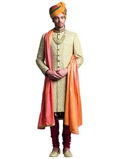 Buy Jade Blue Beige Brocade Embroidered Sherwani online in India at best price.Kindly provide this Sherwani SINA as reference number while inquiring about this product at any store. Mens Indian Wear, Mens Ethnic Wear, Mens Sherwani, Wedding Sherwani, Brocade Suits, Traditional Fashion, Traditional Wedding, Indian Groom, Wedding Men