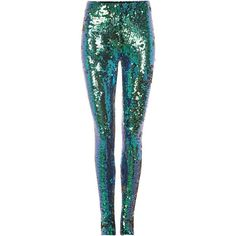 Kilian Kerner Senses Sequin leggings ($140) ❤ liked on Polyvore featuring pants, leggings, trousers, blue trousers, blue pants, sequin embellished pants, nylon leggings and sequin trousers