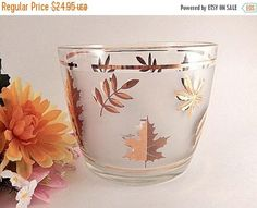 Ice Bucket Gold Leaf Leaves Frosted Glass Beverage Serving
