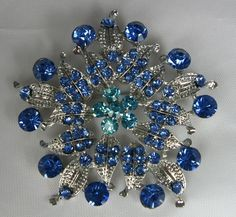 Vintage Large Star Burst  Brooch Blue Rhinestones by TheFashionDen, $20.00