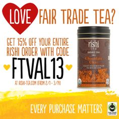 Chocolate Chai will be your valentine <3 Use the code to get a discount on all Rishi Tea! #FairTrade #RishiTea #discount #coupon #ValentinesDay #chocolate #tea