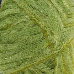 Pletací příze Marlen s efetkní stužkou zelená