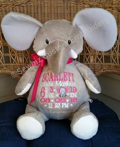 Personalized baby gift baby cubbies rhino birth announcement personalized baby gift personalized stuffed animal monogrammed elephant embroidered birth announcement by sewbiz embroidery too negle Gallery