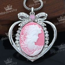 Vintage Silver Plated Crystal Pink Cameo Beauty Heart Pendant Beads Fit Necklace