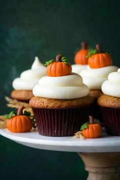 These are the BEST Pumpkin Cupcakes and that Cream Cheese Frosting is divine! They are perfectly spiced and pumpkin-y and so soft and moist!
