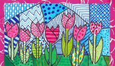 Sparkle art projects for kids Dutch tulips in the style of Romero Britto, by Malou, grade 6 Spring Art Projects, School Art Projects, Art Education Projects, Art Education Lessons, Arte Elemental, 2nd Grade Art, Grade 3, Ecole Art, Artists For Kids