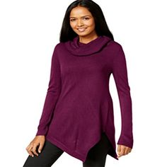 NY Collection CowlNeck Asymmetrical Tunic Sweater  Dark Purple  Large >>> Details can be found by clicking on the image. (It is an affiliate link and I receive commission through sales)