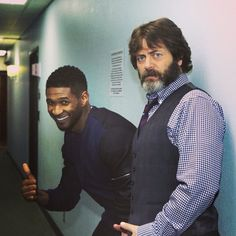 Usher and Nick Offerman hanging out backstage. (5/14/13) #TonightShow