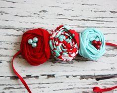 Petite Coral y marrón collage-rosetón flores por babybirdieboutique