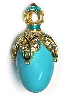 Egg Pendant with Turquoise, Faberge Style, Sterling Silver, Gold Plate - at Holy Trinity Store