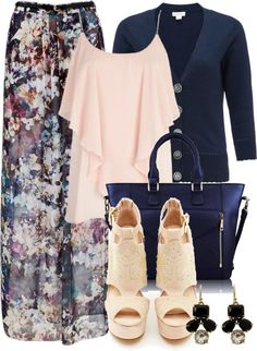 maxi skirt outfit ideas blue   20 Fancy Polyvore Outfit Ideas With Cardigans - Be Modish - Be Modish
