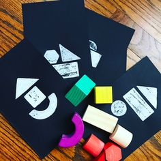 Help Your Child Develop Early Math Skills. Spatial sense.  Make prints of your child's wooden blocks with contrast color paint and play...