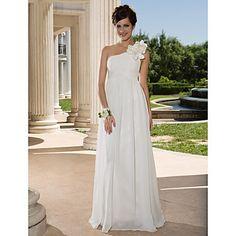 Lan Ting Sheath/Column Plus Sizes Wedding Dress - Ivory Floor-length One Shoulder Chiffon – USD $ 139.99