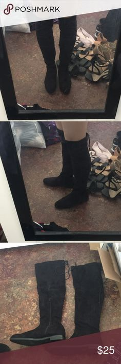 """Black tie back over the knee boots Black faux suede over the knee flat boots. Ties in the back so thigh size is adjustable and helps the boots not slide down. Side zipper closure. Size 7 from boohoo. UK size 5. True to size. Microsuede material. I'm 5'8"""" for reference. Never worn.   🚫Trades 🚫Off posh transactions or 🅿️🅿️ 🚫negotiating in comments  🚷lowballs blocked ✅REASONABLE offers ✅Bundle for 30% off for 3 items or more. Boohoo Shoes Over the Knee Boots"""