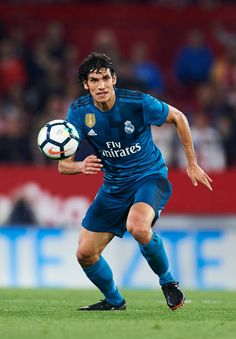 Jesus Vallejo of Real Madrid CF controls the ball during the La Liga match between Sevilla FC and Real Madrid at Ramon Sanchez Pizjuan stadium on May 2018 in Seville, Spain. Real Madrid Football Club, Nike Football, Champion, Soccer, Europe, Wallpapers, Game, The League, Football Team