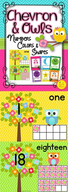 Chevron Owls Numbers, Colors and Shapes Posters. Decorate your classroom with this adorable poster set. $