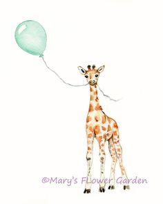Giraffe nursery art 8 X 10 print Mint nursery by Marysflowergarden