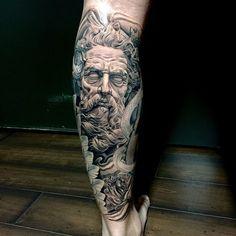 Poseidon Tattoo , black and grey tattoo, leg tattoo, leg sleeve tattoo, Poseidon art, Poseidon head