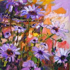 """""""Purple Flowers in my Garden"""" by Ginette Callaway, Georgia // Original impressionist oil painting from 2006. The original is sold.  I frequently paint flowers from my garden. // Imagekind.com -- Buy stunning, museum-quality fine art prints, framed prints, and canvas prints directly from independent working artists and photographers."""