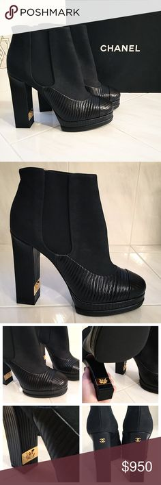 Chanel / black booties 100% authentic Chanel heeled ankle booties from Pre-Fall 2014 collection. Shoe features a wood effect leather on heel and lower parts with black nubeck on top. The inner heel features a gold plaque with an eagle and the back of the