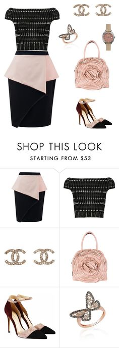 """""""Untitled #1204"""" by bushphawan ❤ liked on Polyvore featuring Alexander McQueen, Chanel, Valentino, Gianvito Rossi, LeVian, Shinola, women's clothing, women's fashion, women and female"""