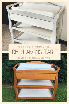 May 26 DIY Changing Table Makeover DIY Changing Table Makeover. How to fix up a tired-looking changi Changing Table Redo, Baby Changing Tables, Diaper Changing Station, Church Nursery Decor, Baby Furniture, Children Furniture, Upcycled Furniture, Baby Bassinet, Home Design Decor