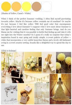 Yellow wedding ideas http://www.theperfectpalette.com/2011/08/milk-honey-palett-of-shades-of-yellow.html