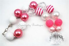 Pink Princess Chunky Bubblegum Bead Necklace - Hot Pink and White - Toddler Chunky Necklace - Adjustable Chunky Necklace - Paris - Chic