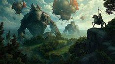 巨人と飛行船と騎手を描いたファンタジーなイラスト壁紙画像