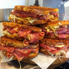 Corned Beef Grilled Cheese Sandwich with Guinness Caramelized Onions.