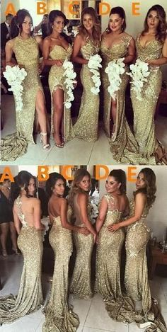 Sexy Unique Mismatched Gold Seuin Side Split Sparkly Women Long Wedding Party Dresses for Bridesmaids The long bridesmaid dresses are fully lined 4 bones in the bodice chest pad in the bust lace up back or zipper back are all available total 126 Mermaid Bridesmaid Dresses, Gold Bridesmaids, Mismatched Bridesmaid Dresses, Bridesmaid Ideas, Party Dresses For Women, Wedding Party Dresses, Dress Party, Wedding Parties, Party Wear