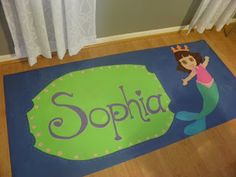 Painted Vinyl Floorcloth! Dora
