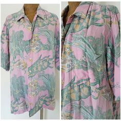 Vintage 80s Reyn Spooner Shirt Size Large Hawaiian Mens Reverse Print Distressed #ReynSpooner #Hawaiian