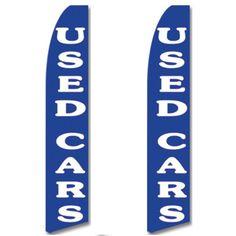 Used Car Swooper Flag 2 Pack Blue White Bold Basic Simple Used Cars #CarLotPromotions #UsedCarAutoDealerBusinessAdvertisingFlags
