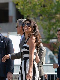 Amal wears Dolce & Gabbana as she arrives in Venice for her wedding, September 2014.