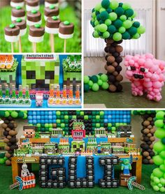 Building a Minecraft party? Don't miss this Minecraft Balloon Party featured at Kara's Party Ideas. Minecraft Birthday Cake, Minecraft Party Games, Minecraft Crafts, Minecraft Ideas, Minecraft Skins, Minecraft Balloons, Mindcraft Party, Video Game Party, Kids Party Themes