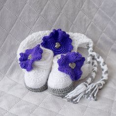 Girl crochet set Hat and Shoes Set Girl Shoes от DaisyNeedleWorks