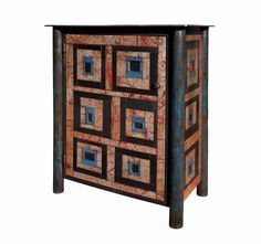 House Top Quilt Cupboard Jim Rose  made from steel with rusted and painted steel