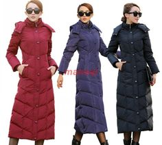 Womens Winter Winter Duck Down Puffer Long Knee Length Parka Hooded Coat Jacket