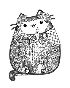 Day of the dead pusheen fan art by lxoetting mandalas de colores, mandalas para colorear Pusheen Coloring Pages, Skull Coloring Pages, Cat Coloring Page, Halloween Coloring Pages, Animal Coloring Pages, Coloring Book Pages, Coloring Sheets, Adult Coloring, Coloring Pages For Kids